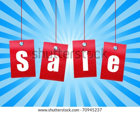 Red hanging sale labels over blue background. Illustration - stock photo