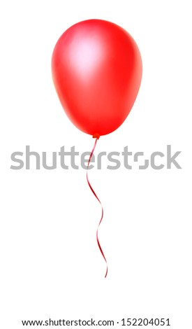 red happy air flying ball isolated on white - stock photo