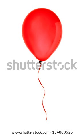 red happy air flying balloon isolated on white background - stock photo
