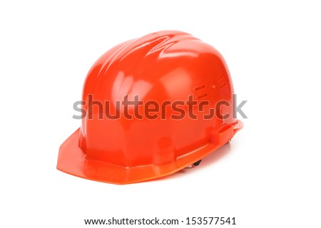 Red hard hat. - stock photo
