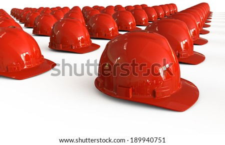 Red Hard Hats Array Isolated on white
