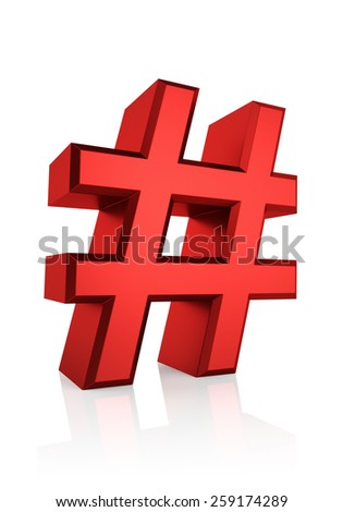 Red hash sign isolated on white background. 3d render - stock photo