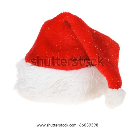 Red Hat of Santa Claus on white background - stock photo