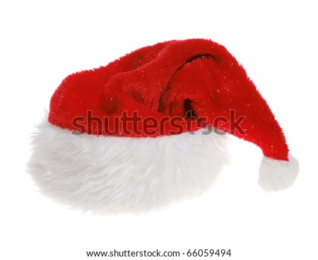 Red Hat of Santa Claus on white background