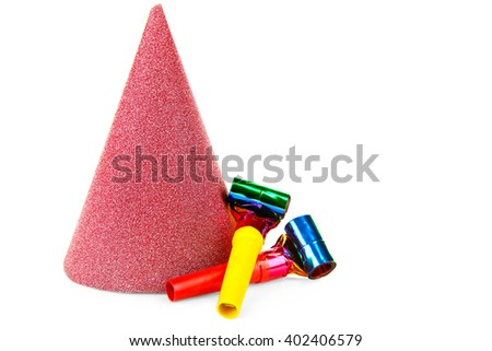 Red hat with blowers, isolated on white - stock photo