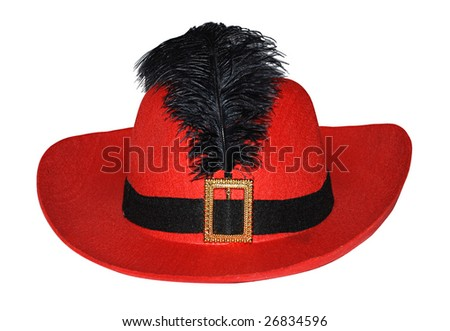Red hat with feather isolated on a white - stock photo