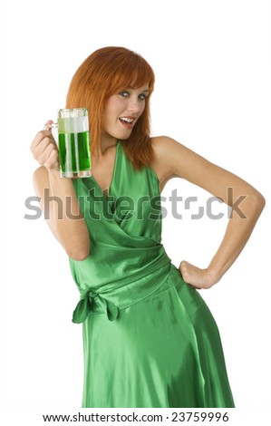 red head girl in green dress and glass of green beer