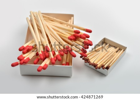 Red head matches in a white big opened box and one small box on the side on white background