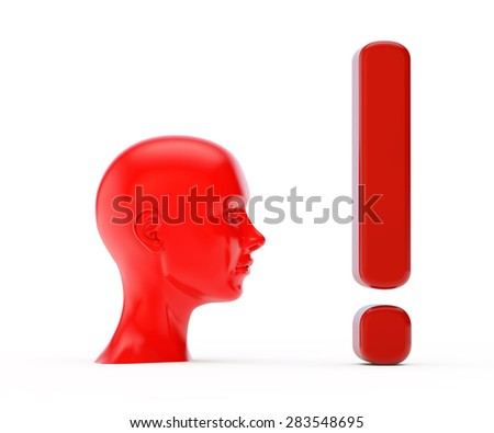 red head of the person and sign of exclamation - stock photo