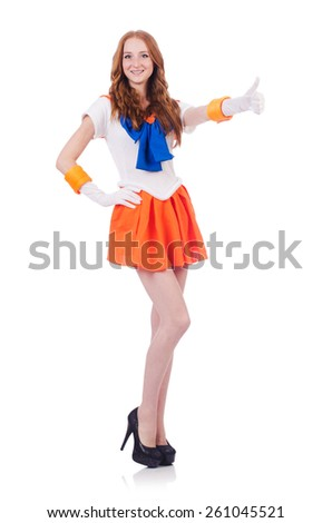 Red head sailor moon isolated on white - stock photo