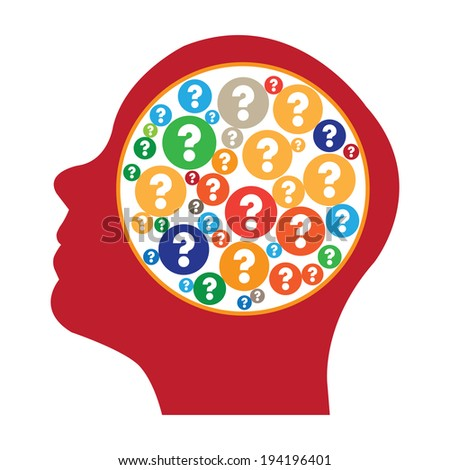 Red Head With Group of Colorful Question Mark Icon in Brain Isolated on White Background - stock photo