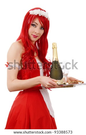 Red-headed sexy waitress with tray and champagne over white - stock photo
