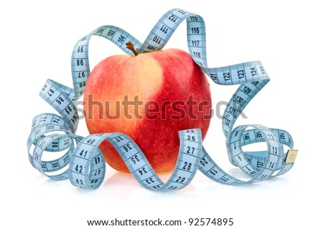 red healthy apple wrapped by blue measure tape