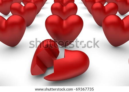 Red hears on white. One is broken. (2) - stock photo