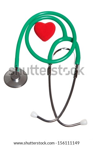 Red heart and a green stethoscope on white background. Checkup health care concept