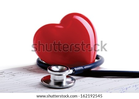 Red heart and a stethoscope - stock photo