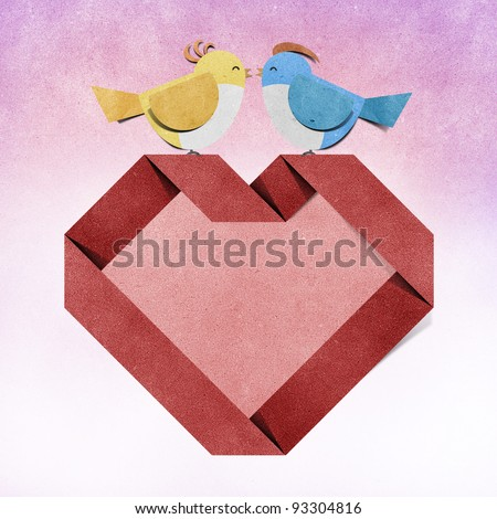 red heart and bird recycled paper craft - stock photo
