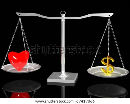 Red heart and Euro on Silver balance on black isolated background - stock photo