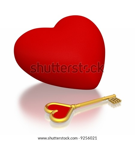 red heart and golden key (high resolution 3D) - stock photo