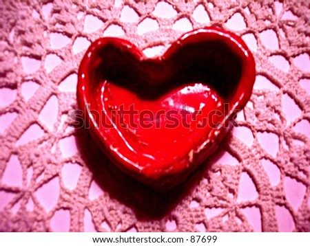 Red Heart and Pink Lace - stock photo