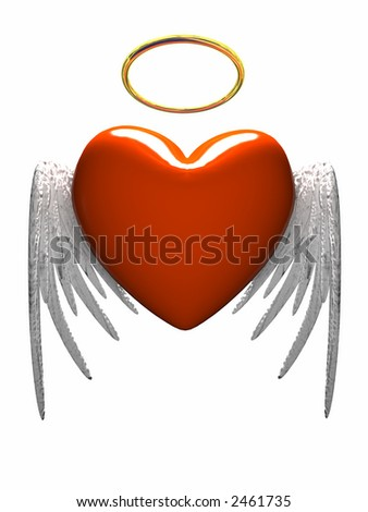 Red heart-angel with wings isolated on white background - stock photo
