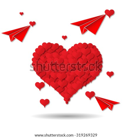 red heart background - stock photo