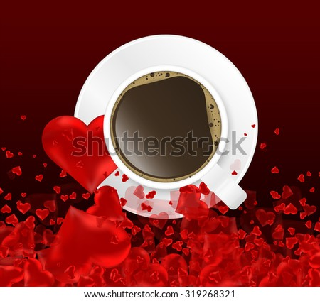 red heart background and coffee - stock photo