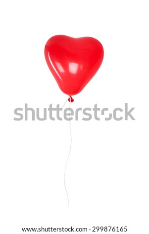Red heart balloon isolated on white