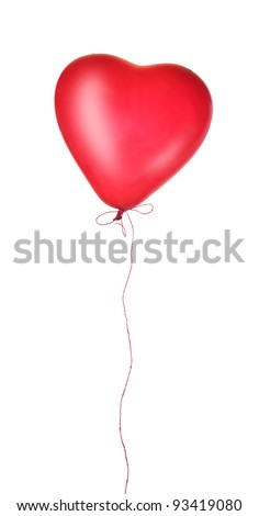 Red heart balloon isolated on white background - stock photo