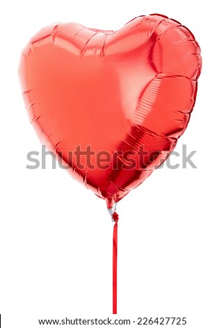 Red heart balloon isolated on white, clipping path included - stock photo