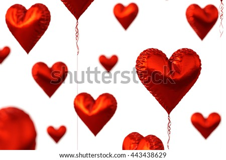 Red heart balloons isolated on white background. 3D illustration. - stock photo