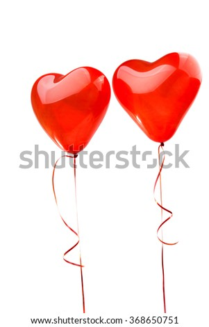 red heart balloons on a white background - stock photo