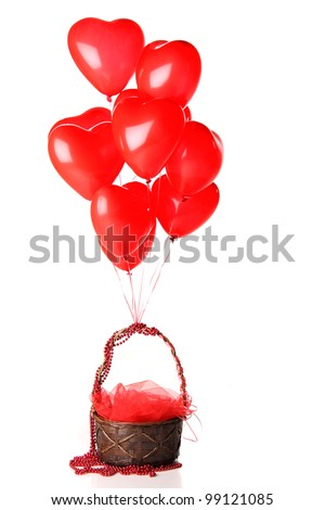 red heart balloons with basket - stock photo