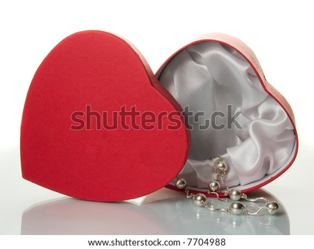 red heart box - stock photo