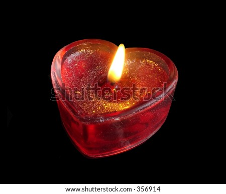 red heart candle - stock photo