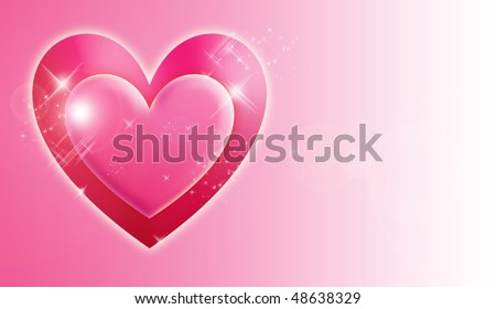 red heart card - stock photo