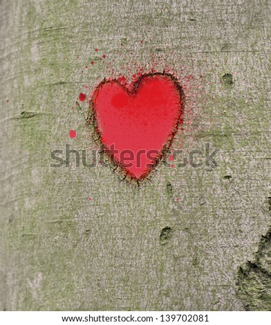 red heart carved on the tree - stock photo