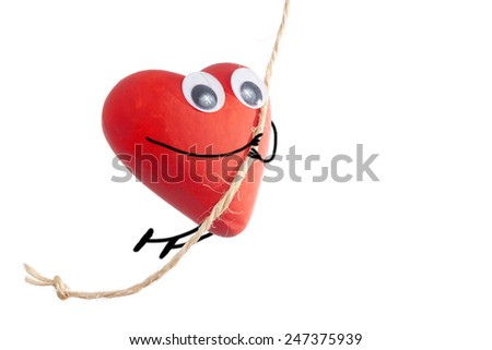 Red heart character with liana isolated on white background - stock photo