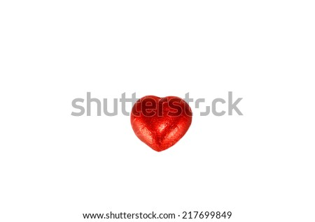 red heart Chocolate isolated on the white. - stock photo