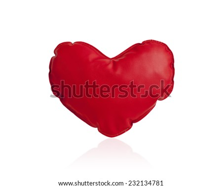 Red heart cushion isolated on white background - stock photo