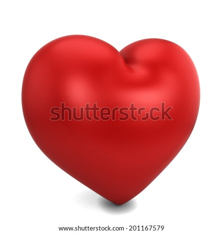 Red heart. 3d illustration isolated on white background