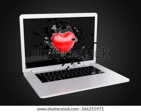 red Heart destroy laptop, technology background, art background
