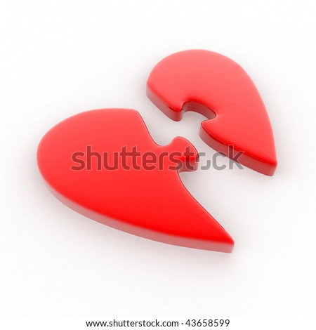 Red heart divided into two parts in the form of a puzzle - stock photo
