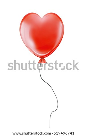 Red heart flying air balloon isolated on white background