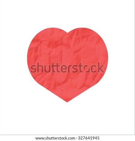 red heart from crumpled paper on a white background