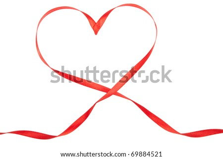 Red heart from ribbon Valentine day