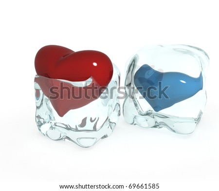 Red heart frozen in ice cube isolated on white - stock photo