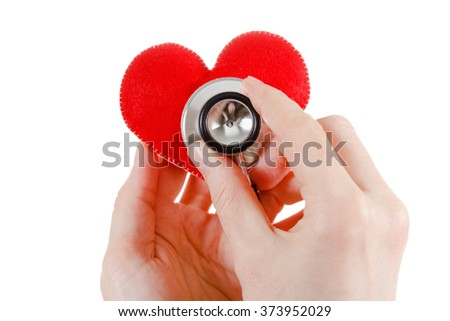 Red Heart, hands doctor and stethoscope. Healthcare and Medicine concept studio shot. Isolated on white background. - stock photo