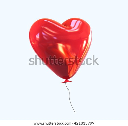 Red heart helium Balloon with glossy reflection isolated. 3d rendering - stock photo