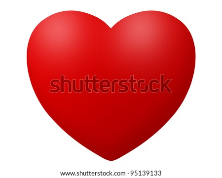 Red heart icon illustration isolated on white - stock photo